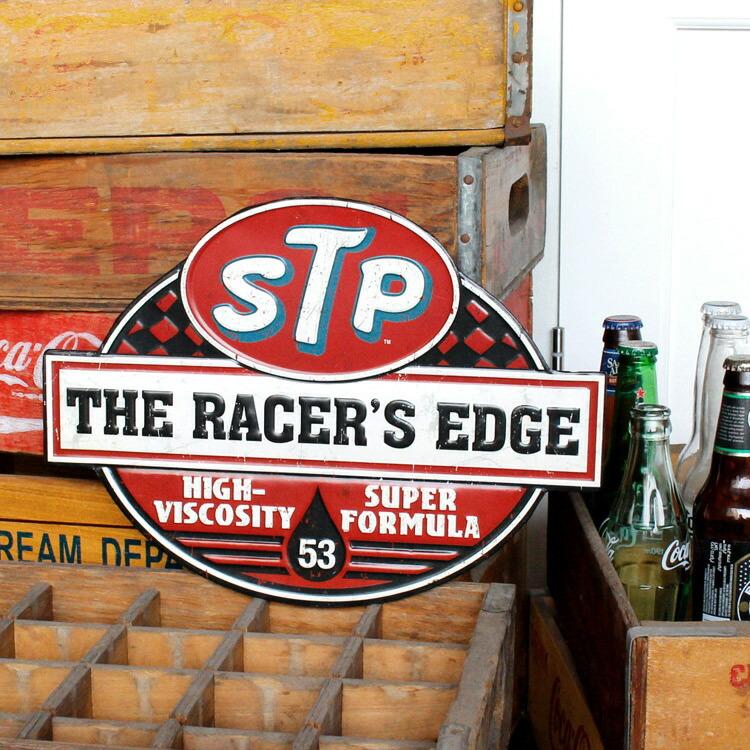 ダイカットメタルサイン STP THE RACER'S EDGE ガルフ レーサーズエッジ 縦26×横36cm ブリキ看板 インテリア アメリカ雑貨 アメリカン雑貨