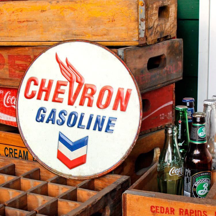 ダイカットメタルサイン CHEVRON GALINE シェブロン ガソリン 縦30×横30cm ブリキ看板 インテリア アメリカ雑貨 アメリカン雑貨