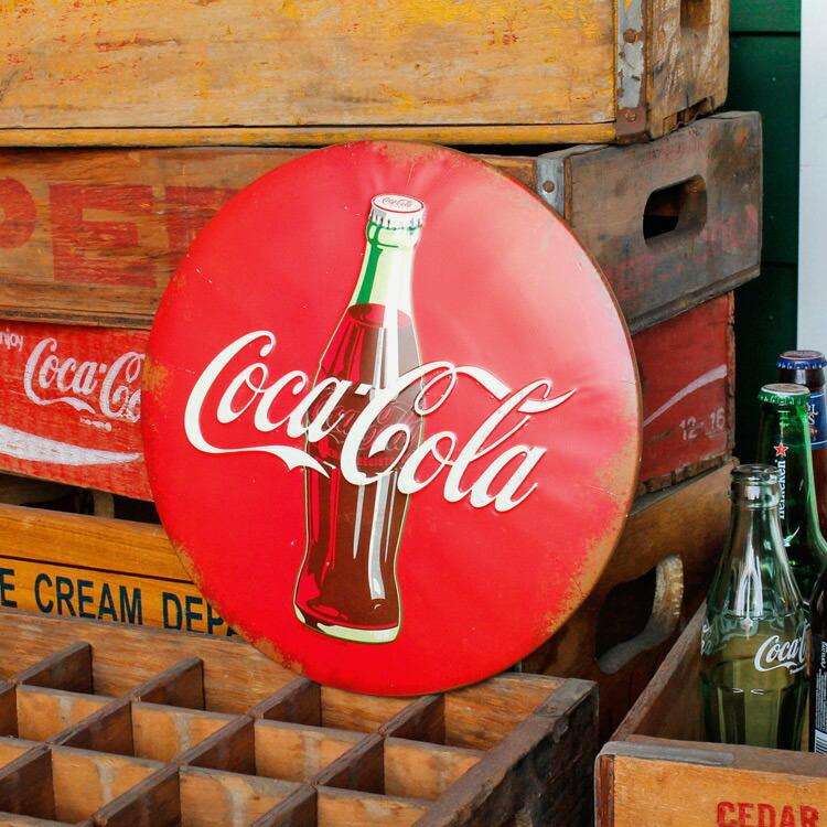 ダイカットメタルサイン COCA-COLA コカコーラ (ラウンド) 縦30×横30cm ブリキ看板 インテリア アメリカ雑貨 アメリカン雑貨