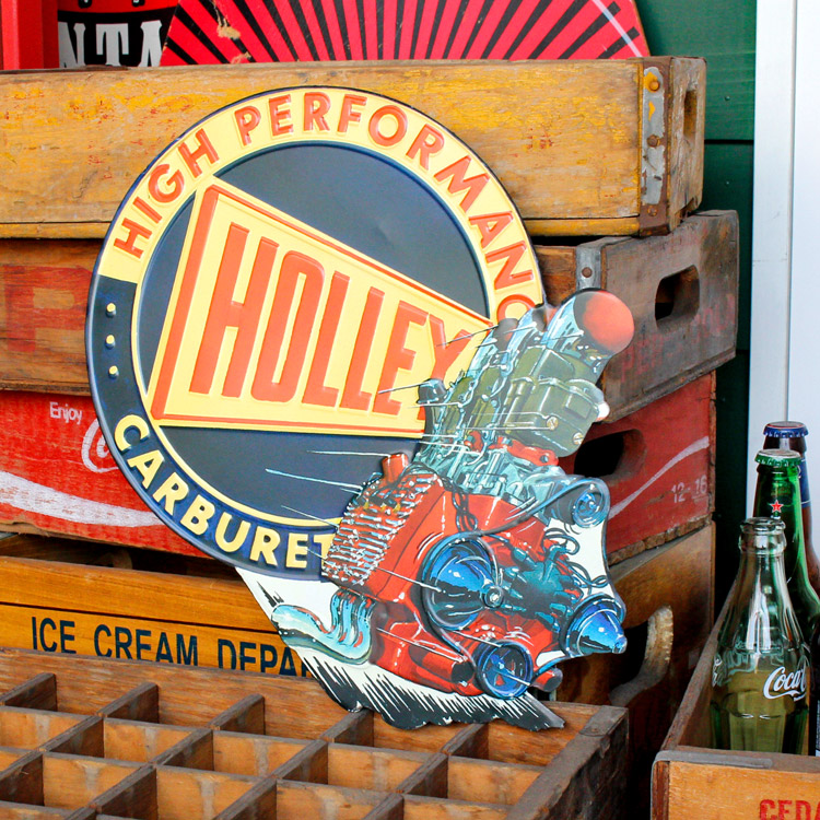 ダイカットメタルサイン HOLLEY ホーリー 縦38×横39cm ブリキ看板 インテリア アメリカ雑貨 アメリカン雑貨