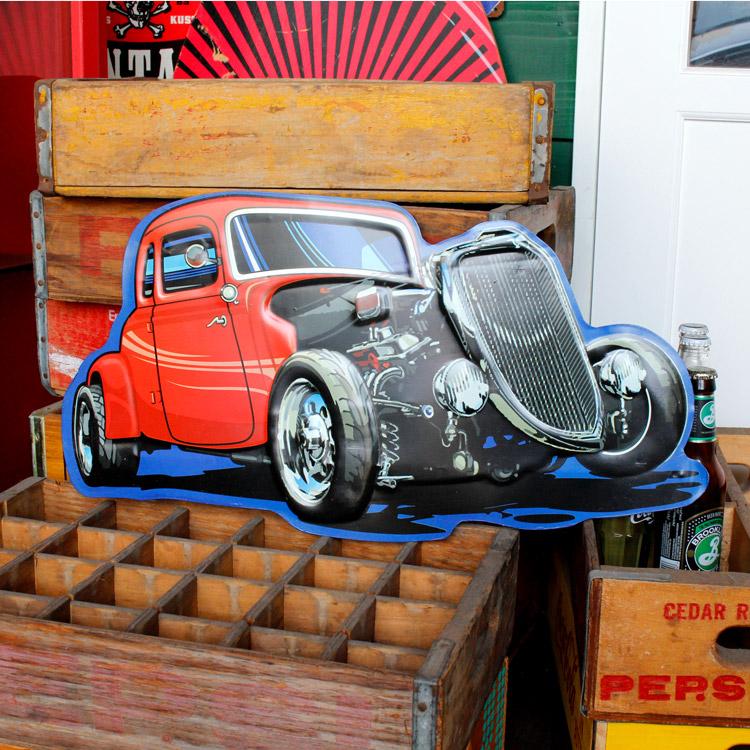ダイカットメタルサイン CAR RED カー レッド 縦30×横56cm ブリキ看板 インテリア アメリカ雑貨 アメリカン雑貨