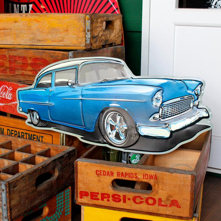 ダイカットメタルサイン CAR BLUE カー ブルー 縦26×横56cm ブリキ看板 インテリア アメリカ雑貨 アメリカン雑貨