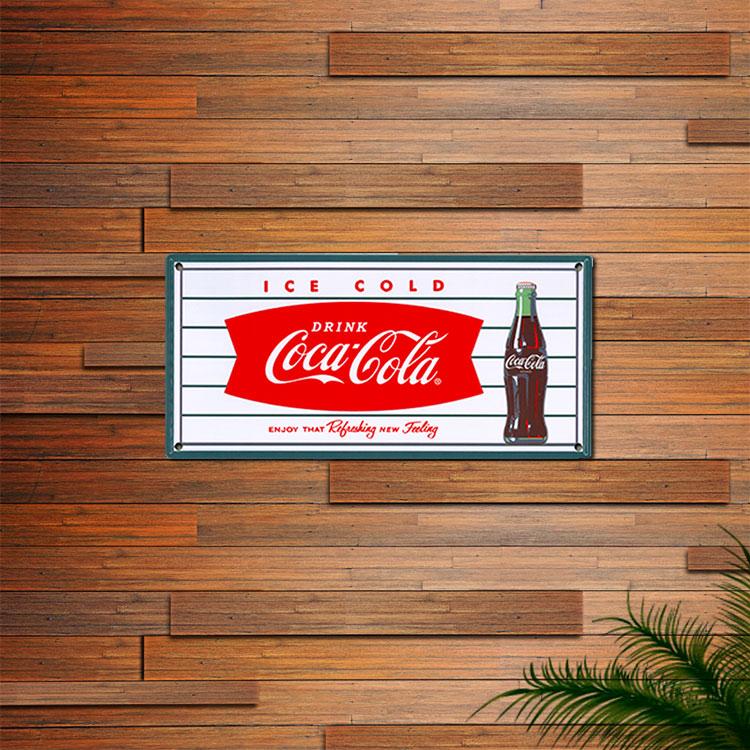 看板 コカ・コーラ ティンプレート (Fish) PJ-SE01 縦16.8×横35cm フィッシュテイル ブリキ看板 アメリカン雑貨