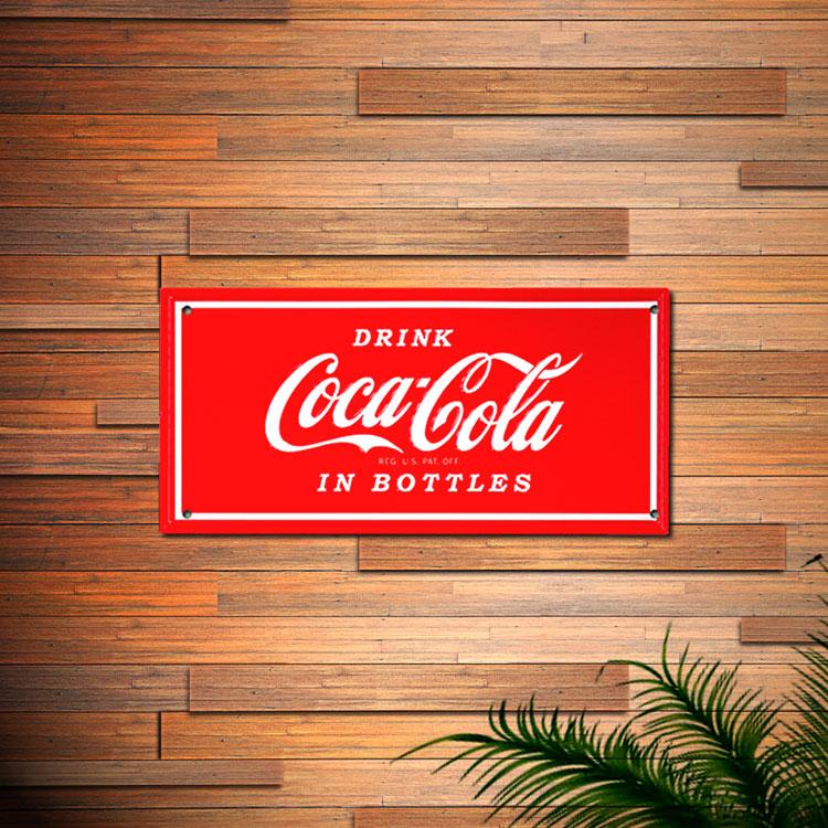 看板 コカ・コーラ ティンプレート (Drink) PJ-SE02 縦16.8×横35cm ブリキ看板 アメリカン雑貨