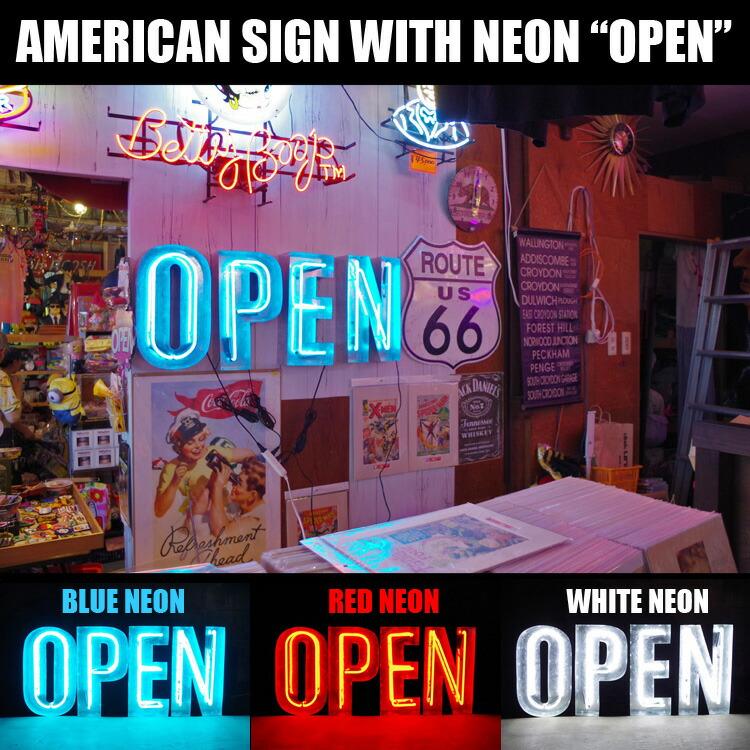 アメリカンサイン ウィズ ネオン 「OPEN」 ホワイトネオン インパクトフォント 店舗装飾 インテリア 照明 アメリカ雑貨 アメリカン雑貨