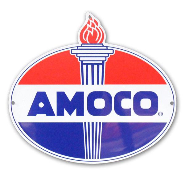 プラスチックカッティングサイン 「AMOCO EMBLEM」 W47×H42.5cm (ダイカットサイン)