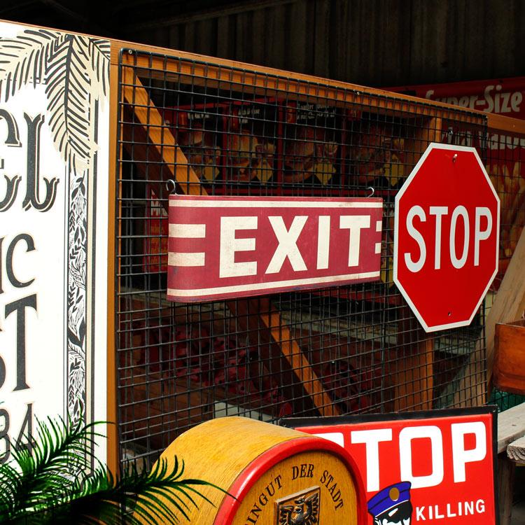 看板 メタルサイン「Exit」HFT-337 縦18×横57.5×奥行き4cm スチール製 ヴィンテージプリント 立体 屋内仕様 店舗看板 アメリカン雑貨