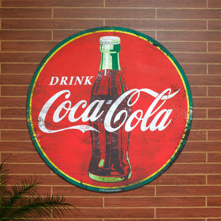 看板 ビッグメタルサイン DRINK COCA-COLA ROUND SIGN #225497 縦100×横100×厚さ1cm スチール製 屋内仕様 店舗装飾 壁面ディスプレー アメリカ雑貨