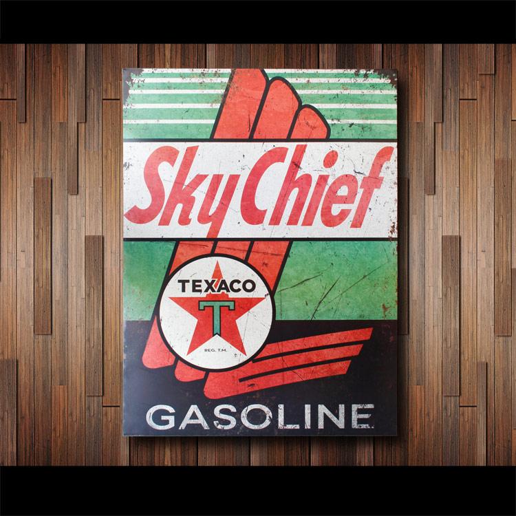 看板 ビッグメタルサイン TEXACO SKY CHEEF テキサコ スカイチーフ #227147 縦101.5×横76×厚さ1cm スチール製 屋内仕様 店舗装飾 壁面ディスプレー アメリカ雑貨