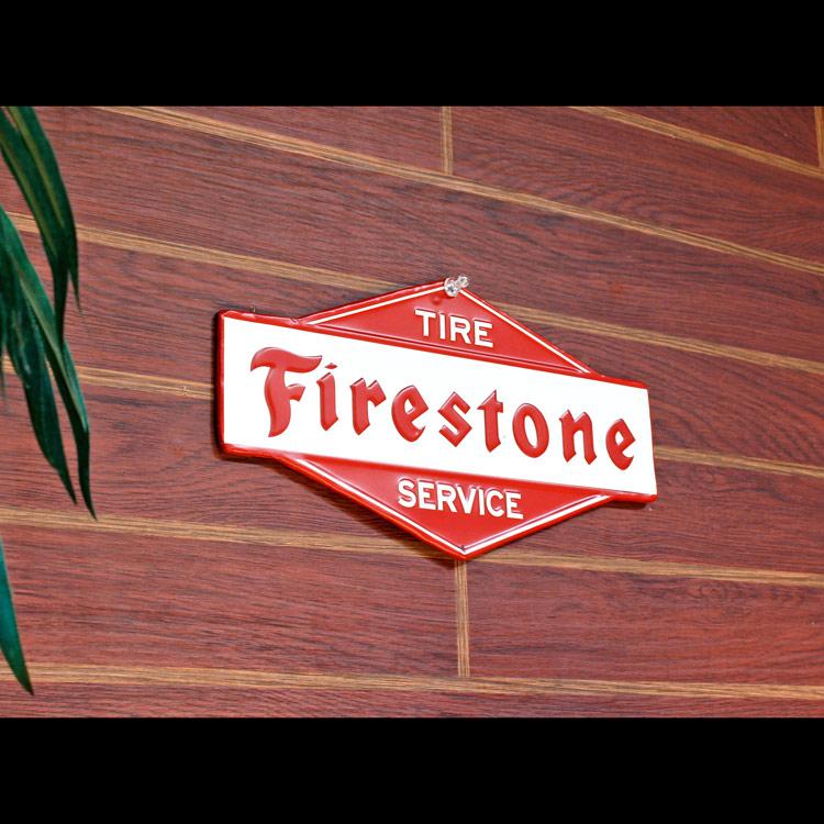 看板 USエンボスサイン Fire Stone ファイヤストーン 縦15×横28cm メタルサイン インテリア アメリカン雑貨