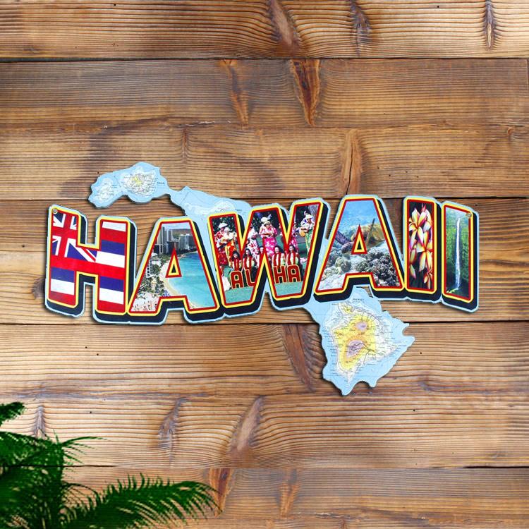 看板 アメリカンスティールサイン「HAWAII Landmarks」 PS-224 インテリア ハワイ ハワイアン アメリカン雑貨