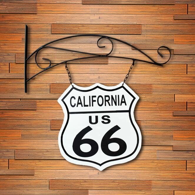 看板 アメリカンスティールサイン「Route66 California ロードサイン」両面・吊り下げ RD-029 UVカットコーティング アメリカ製 インテリア ルート66