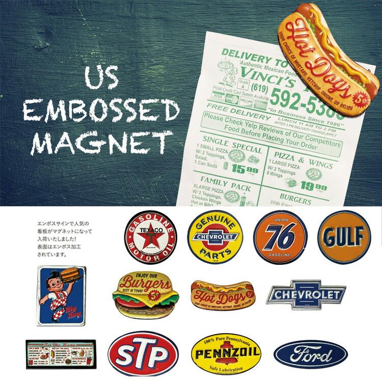 磁石 マグネット USエンボスマグネット CHEVROLET SQUARE/ シボレー φ5.7cm ステーショナリー アメリカン雑貨
