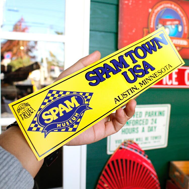 ステッカー SPAM スパム バンパーデカール SPAMTOWN USA 縦7.7×横29.3cm アメリカ雑貨 アメリカン雑貨