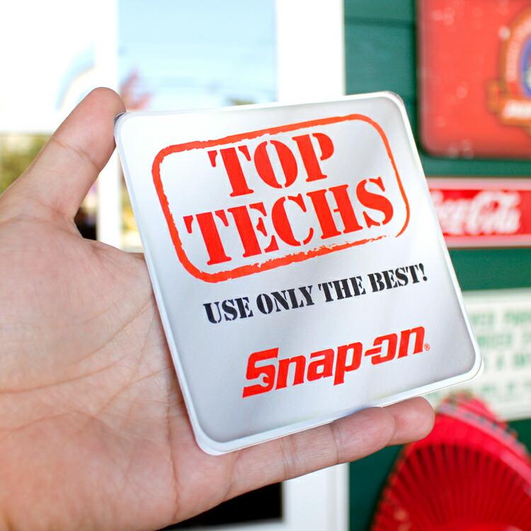 ステッカー 車 スナップオン デカール TOP TECHS USE ONLY THE BEST 角型 グレー 縦12.7×横12.7cm Snap-on シール アメリカ雑貨 アメリカン雑貨