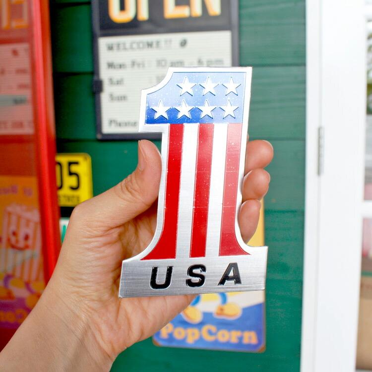 ステッカー 車 シール アルミステッカー USA #1 縦12×横8.2cm カーアクセサリー アメリカン雑貨