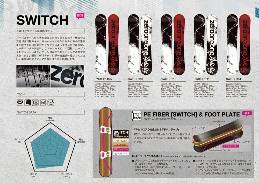 17-18 011 ARTISTIC SWITCH/011 SWITCH/011 ARTISTIC 17-18/011 スノーボード/ゼロワン/ゼロワンワン アーティスティック/スウィッチ/148.5/150/2017-2018