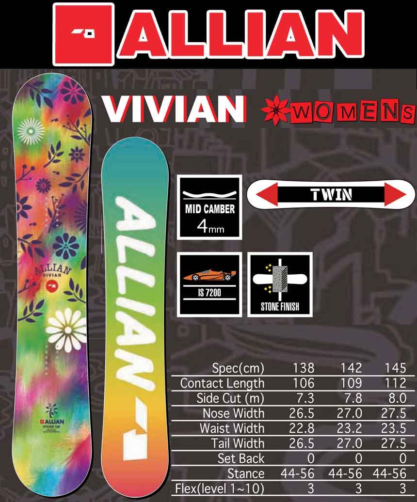 17-18 ALLIAN VIVIAN/アライアン ヴィヴィアン/17-18 アライアン ヴィヴィアン/アライアン スノーボード/ALLIAN スノーボード/アライアン レディース スノーボード/138/2017-2018