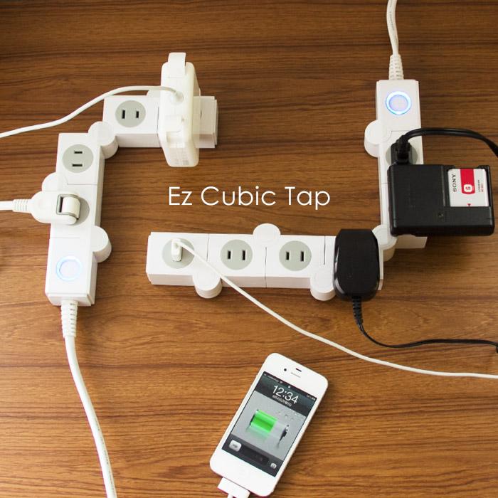 幅広コンセントも複数同時使用可能。一つずつ自由に角度を変えられる電源タップ