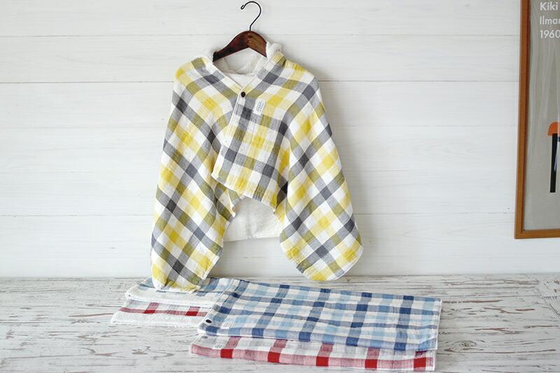 高品質なタオルブランドのチェックのフード付きバスタオル 今治タオル