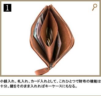 1.小銭入れ、札入れ、カード入れとして、これひとつで財布の機能は十分。鍵をそのまま入れればキーケースにもなる。
