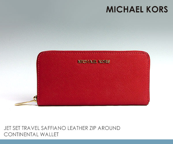 Michael Kors Saffiano Continental Large Red Wallets