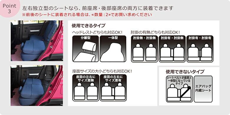 左右独立型のシートなら、前座席・後部座席の両方に装着できます