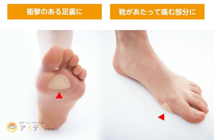 衝撃のある足裏に。靴があたって痛む部分に