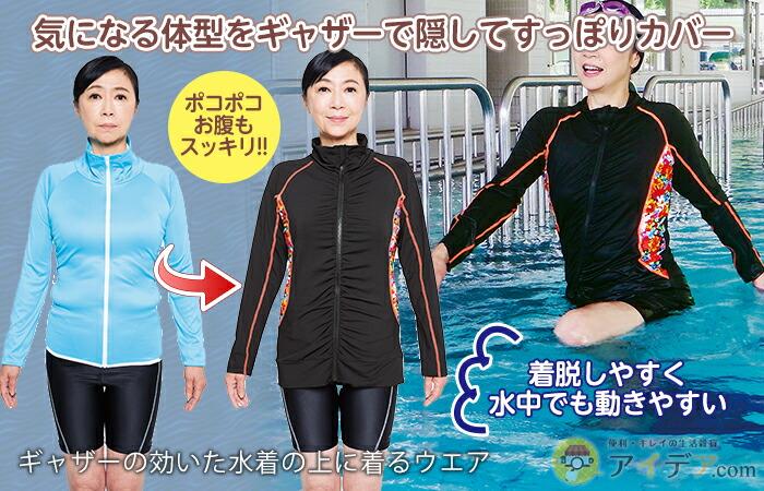 ギャザーの効いた水着の上に着るウエア コジット