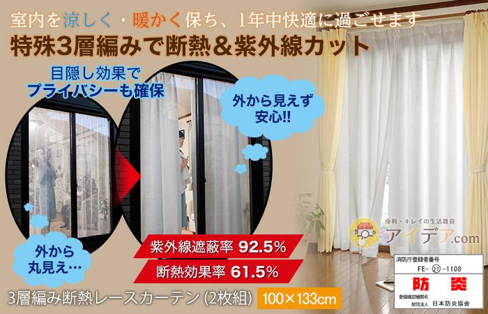 3層編み断熱レースカーテン (2枚組)100×133cm コジット