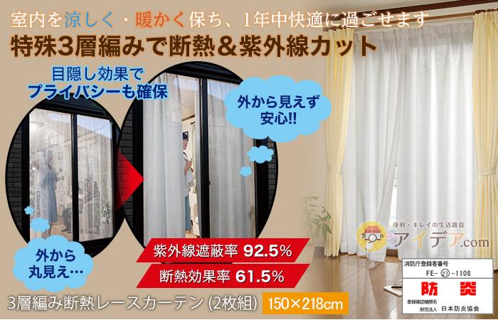 3層編み断熱レースカーテン (2枚組)150×218cm コジット