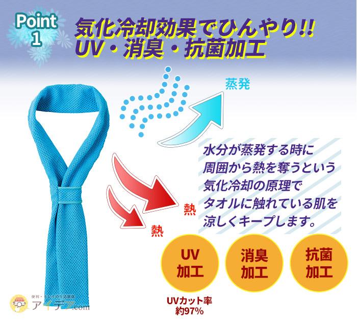 気化冷却効果でひんやり!!UV・消臭・抗菌加工