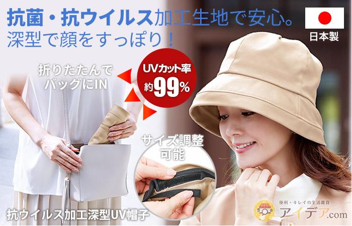 抗ウイルス加工深型UV帽子 コジット