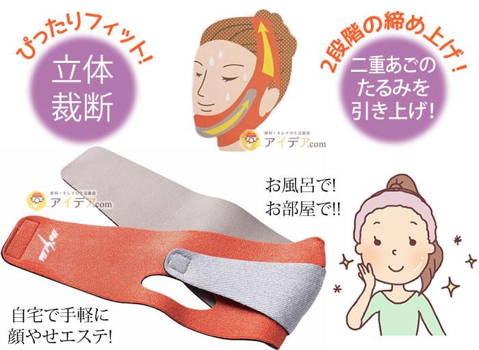 小顔補正ベルト(二重あご):ぴったりフィットの立体裁断に2段階の締め上げで二重あごのたるみを引き上げ!