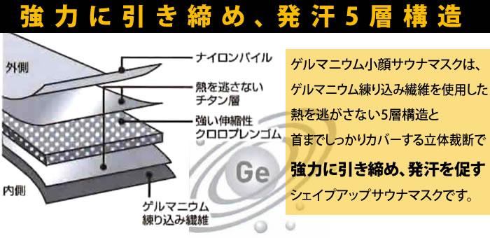 ゲルマニウム小顔サウナマスク:強力に引き締め発汗!5層構造