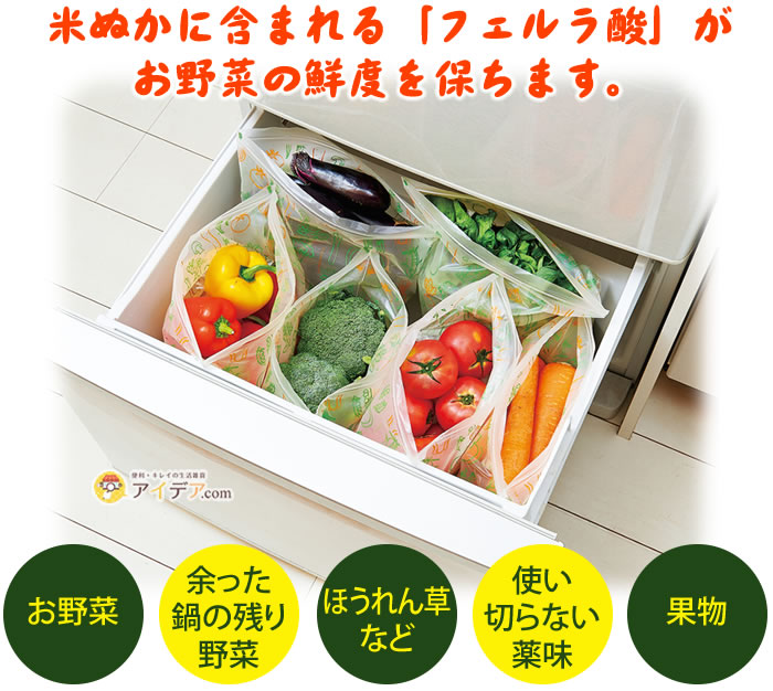 米ぬかの力鮮度保持袋:米ぬかに含まれる「フェルラ酸」がお野菜の鮮度を保ちます。