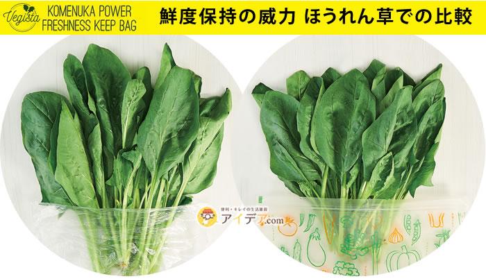 米ぬかの力鮮度保持袋:鮮度保持の威力