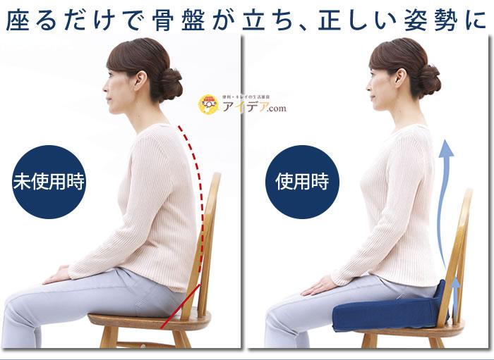 腰痛対策クッション:座るだけで正しい姿勢