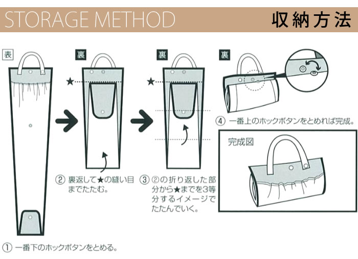 3本入るはっ水傘ポケット;収納方法