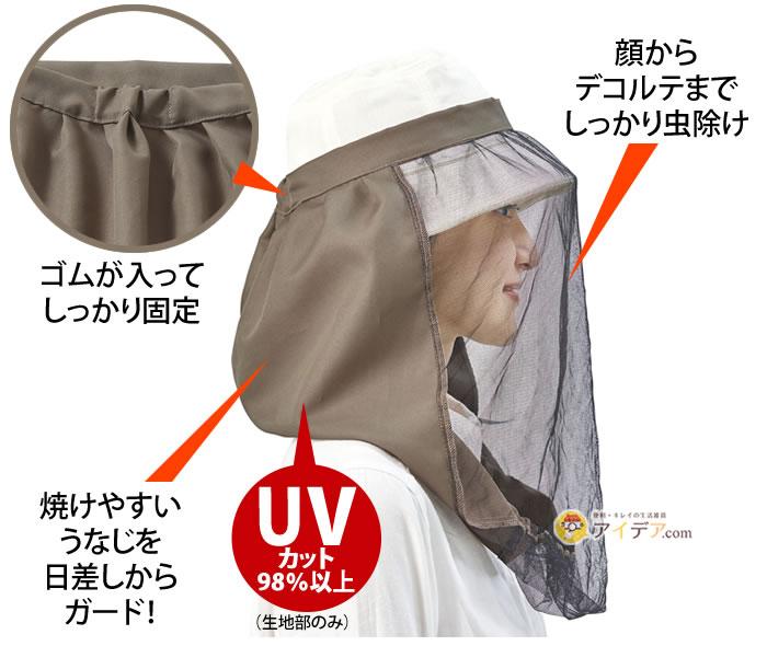帽子に取り付ける虫除けUVネット:顔からデコルテまでしっかり虫除け。焼けやすいうなじを日差しからガード。ゴムが入ってしっかり固定