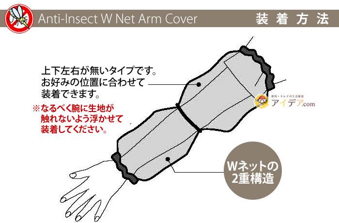 Wネット虫除けアームカバー:装着方法
