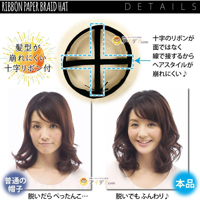 プレシャスUV リボンペーパーブレードハット:髪型が崩れにくい十字リボン付き