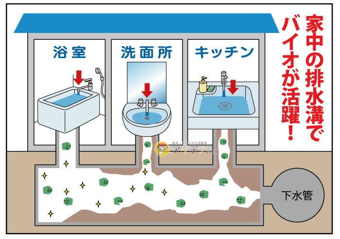 バイオ排水管きれい 詰め替え用:家中の排水管でバイオが活躍