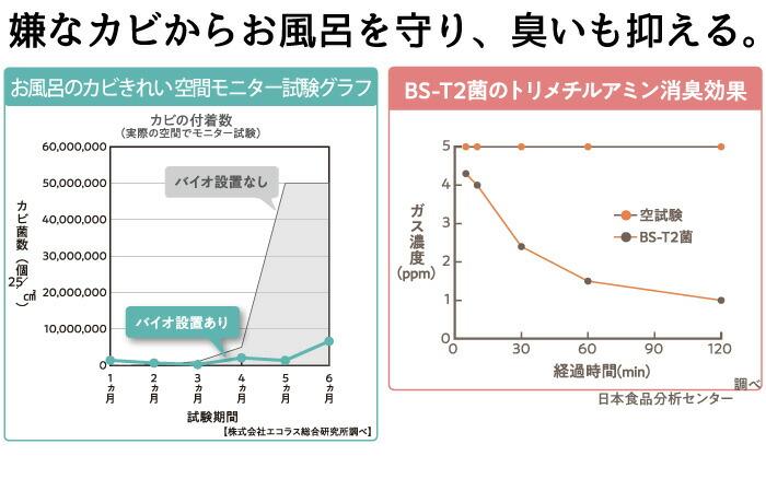 ハイパワーバイオ お風呂のカビきれい:グラフ