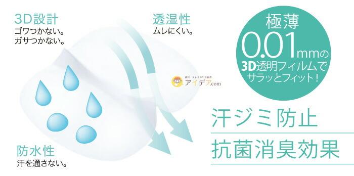 3Dサラクリアクロスフィッティ:汗ジミ防止、抗菌消臭効果