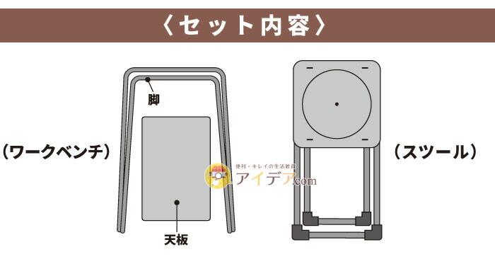 折り畳みガーデニングワークベンチ&スツール:セット内容