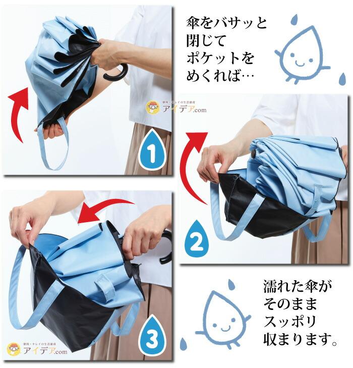 晴雨兼用 くるりんバッグ折りたたみ傘:傘をバサッと閉じてポケットをめくれば濡れた傘がそのままスッポリ収まります。
