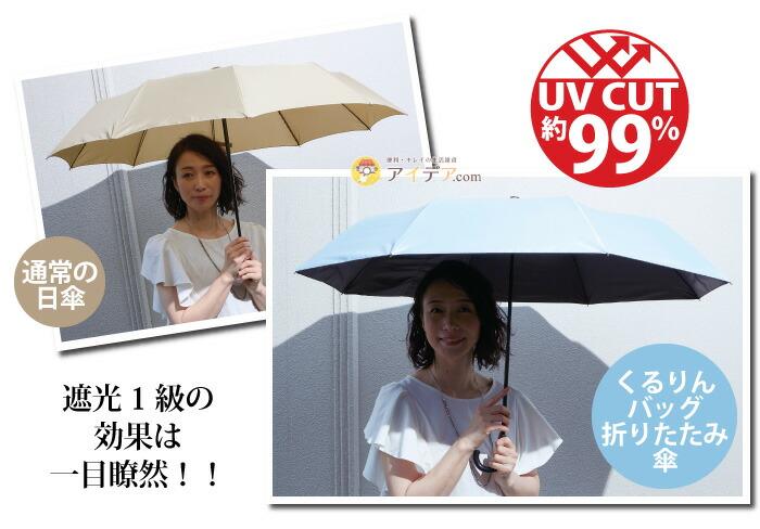晴雨兼用 くるりんバッグ折りたたみ傘:遮光1級の効果は一目瞭然