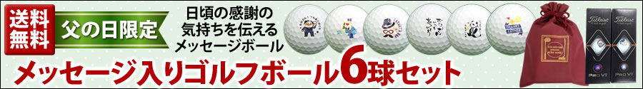 【父の日限定】メッセージ入りゴルフボール6球セット(送料無料)