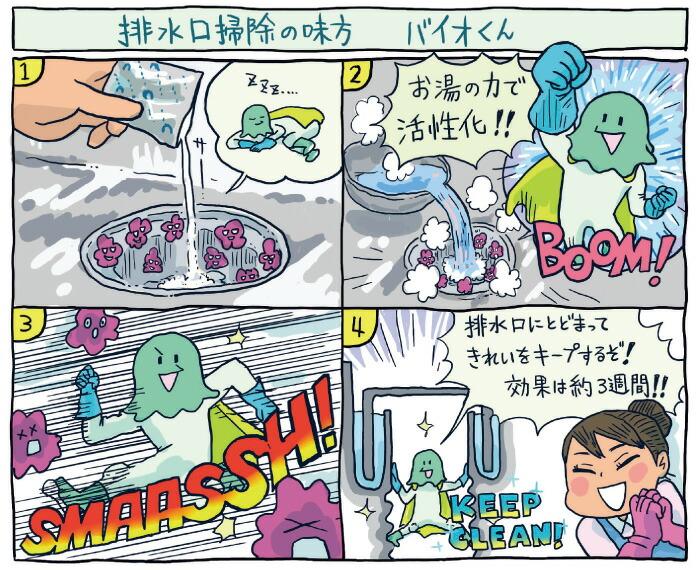 パワーバイオ泡のキッチン排水口きれい:イラスト